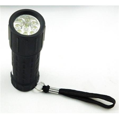 Ficklampa. 9 led. Gummiklädd.