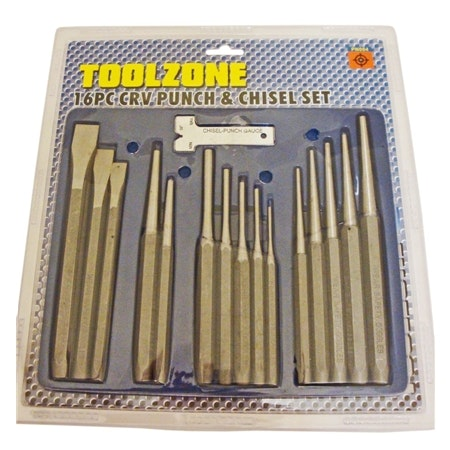 Slagverktygset med 16 delar. Körnare, huggmejslar, drivdorn, hålstans/spikdrivare.