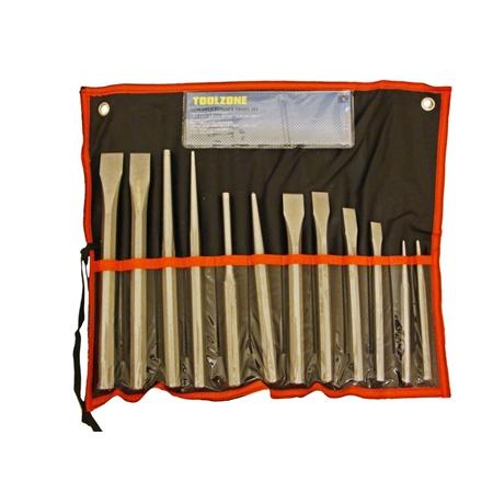 Slagverktygset. 12 delar. Huggmejslar, drivdorn, körnare.