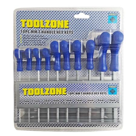 10 st Insexnycklar med T-handtag på ställ. 2-10mm.