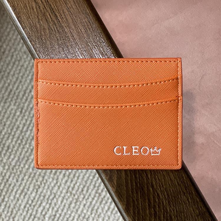 Orange korthållare - Tryck i silver (24pts)