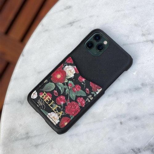 Red flowers - Mobilskal med korthållare