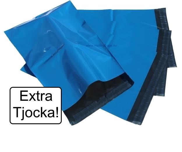Extra Tjocka påsar! Blåa 6 storlekar - Mailingbags.nu