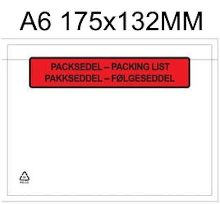 Packsedelsfickor A6 utan, med text & randig med text
