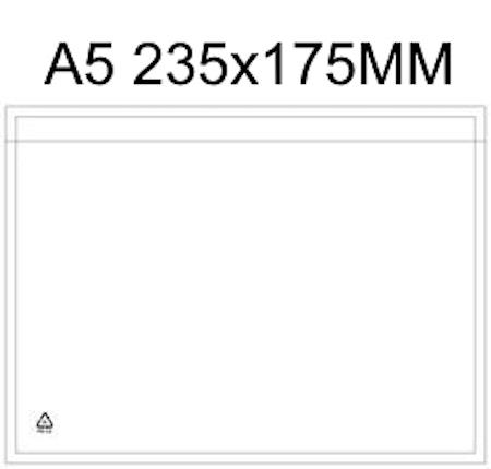 Packsedelsfickor A5 med & utan text.