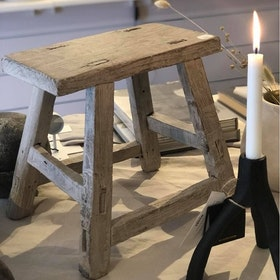 Stool baby square LIGHT WAXED