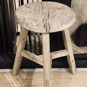 Stool round Light waxed