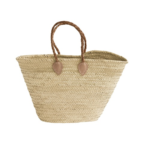 Shopping basket with leather handles