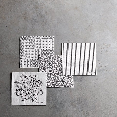 Paper napkin with lotus flower