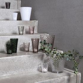 Facet glass tea lights and vase