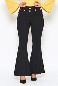 58ec0f5c Black wide trouseres with gold buttons- Mila utsvängda byxor med guldknappar