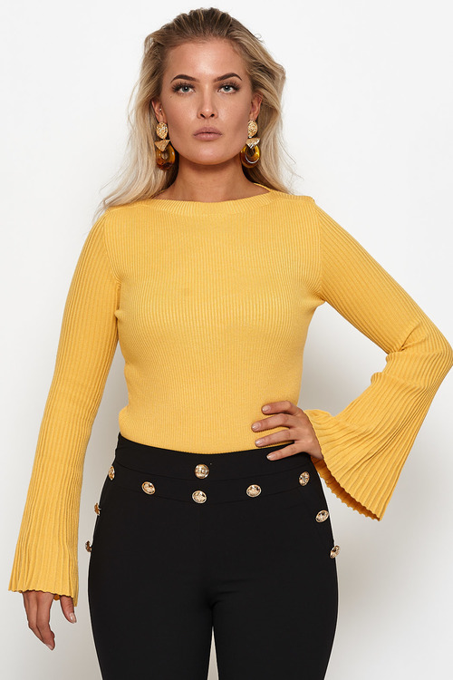 9afbfcc6 Yellow ribbed wide sleeve top- Sunny ribbad gul topp - Jebelles