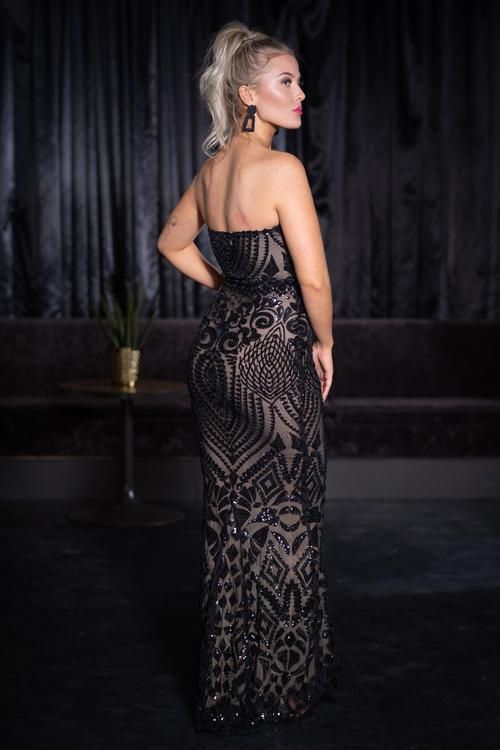 Maxi black sequin mermaid party dress Fabulous paljett