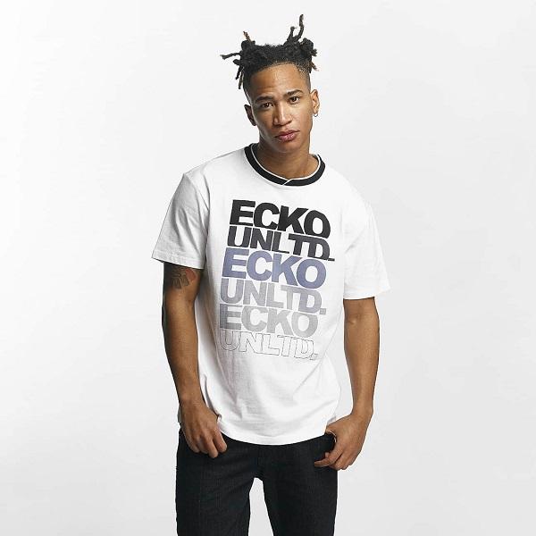 vit ecko unltd. t-shirt med svart/grått text logo tryck fram samt svart krage