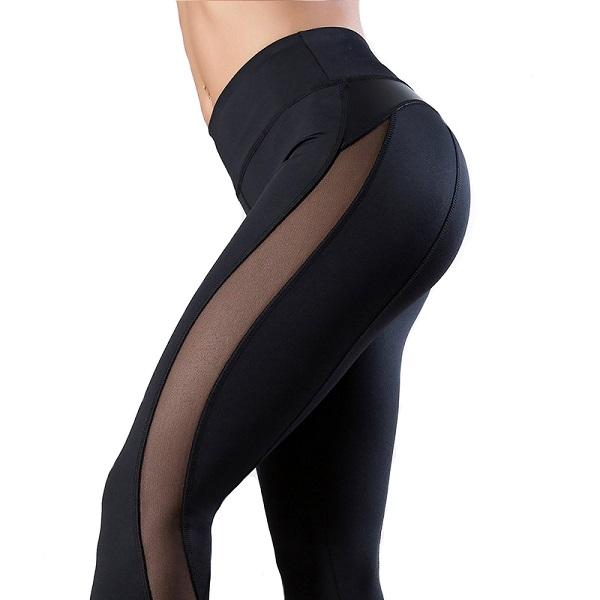 svarta tights med mesh och läder för dam