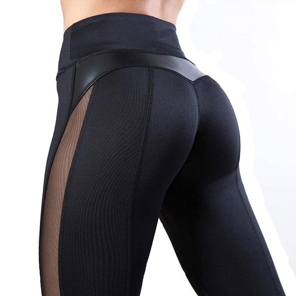 svarta träningstights med mesh och läder