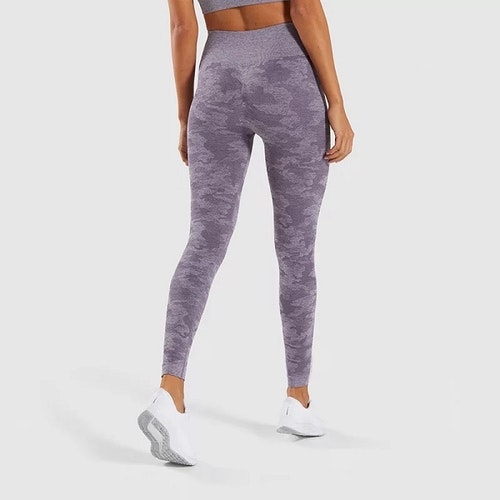 Seamless Träningstights Purple Camo