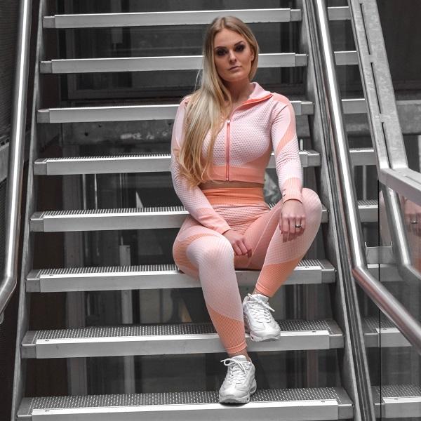 Flingwear Seamless Set Ribbed Pink
