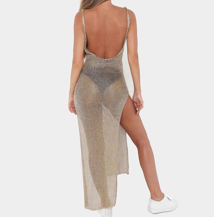 snygg strandklänning perfekt för coverup bikini och semster, guldtyg lätt transparent där bikinin syns igenom
