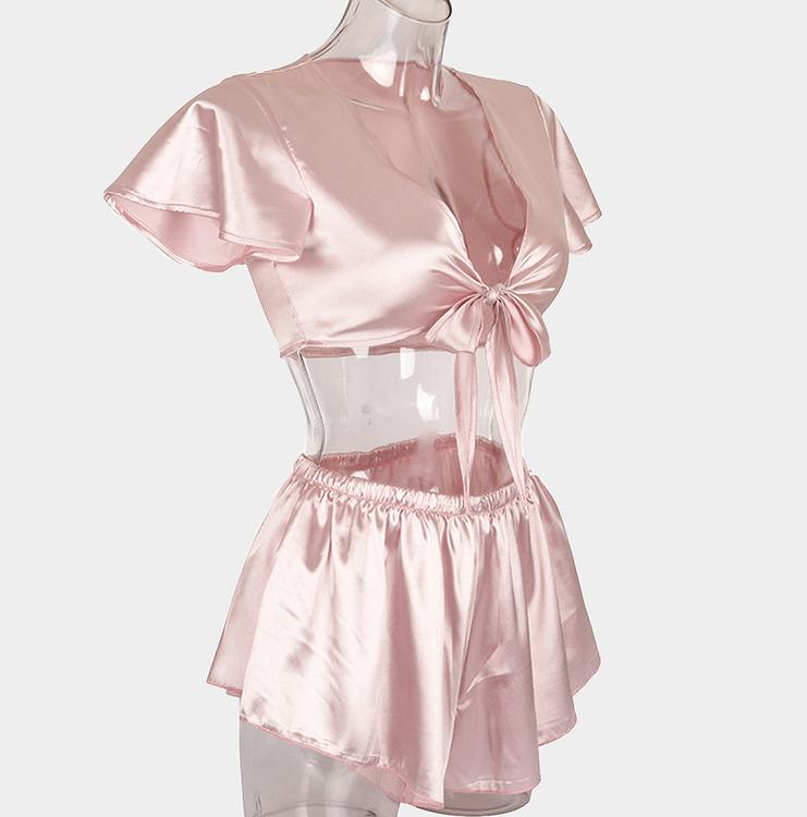 snygg rosa siden pyjamas shorts och knyttop fina sovkläder för dam