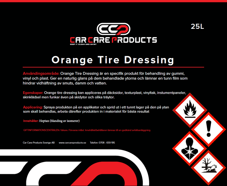 Car Care Products - Orange Tire Dressing 25L