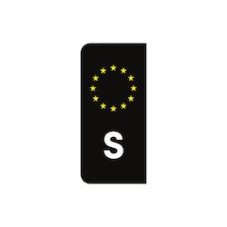 Svart S-Märke (för registreringsskylt)
