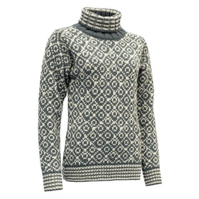 Devold Tröja Svalbard Sweater High Neck Turbulence/Offwhite
