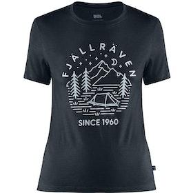 Fjällräven T-shirt Abisko Wool Tältplats SS Woman Dark Navy