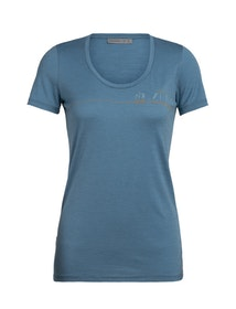Icebreaker T-shirt Wmns Tech Lite SS Scoop Single Line Camp Blue Spruce