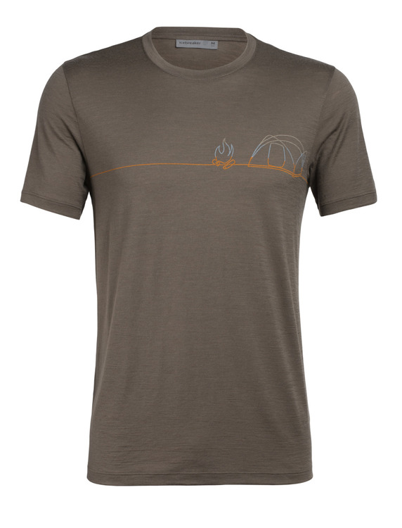 Icebreaker T-shirt Mens Tech Lite SS Crewe Single Line Camp Driftwood