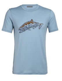 Icebreaker T-shirt Mens Tech Lite SS Crewe Tetons Salmon Waterfall