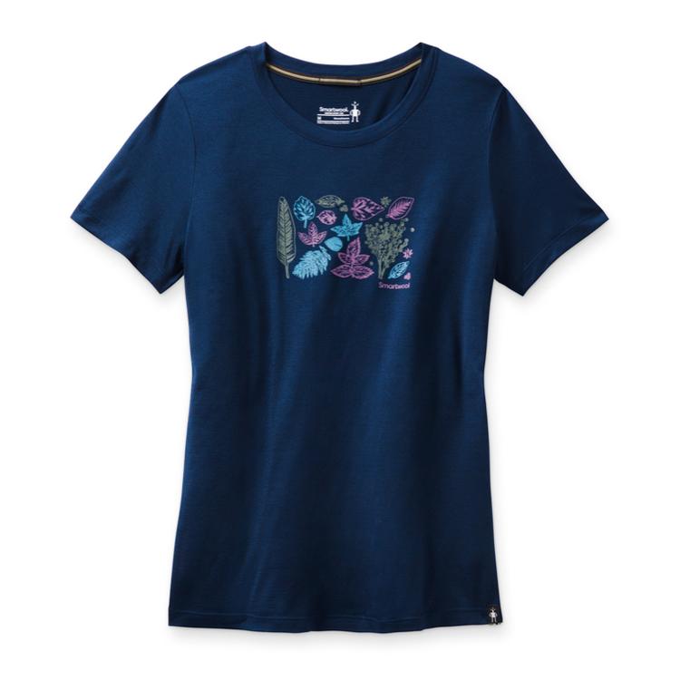 Smartwool T-shirt Women´s Merino Sport 150 Spring Leaves Graphic Tee Deep Navy