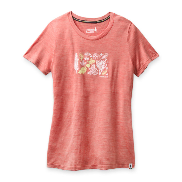Smartwool T-shirt Women´s Merino Sport 150 Spring Leaves Graphic Tee Sunset Coral Heather