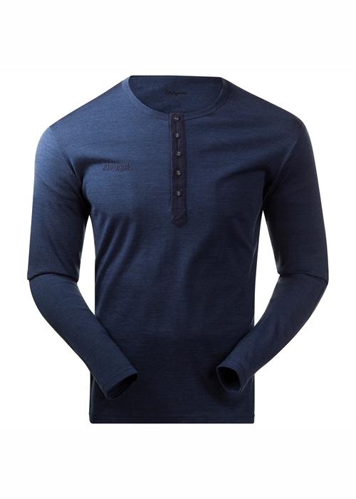 Bergans farfarströja Henley Wool Shirt Navy Mel
