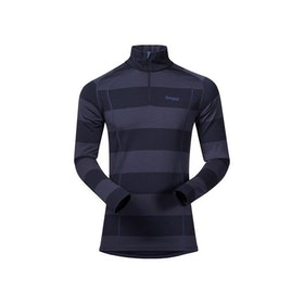 Bergans Underställströja Fjellrapp Half Zip Striped Dark Navy/Night Blue