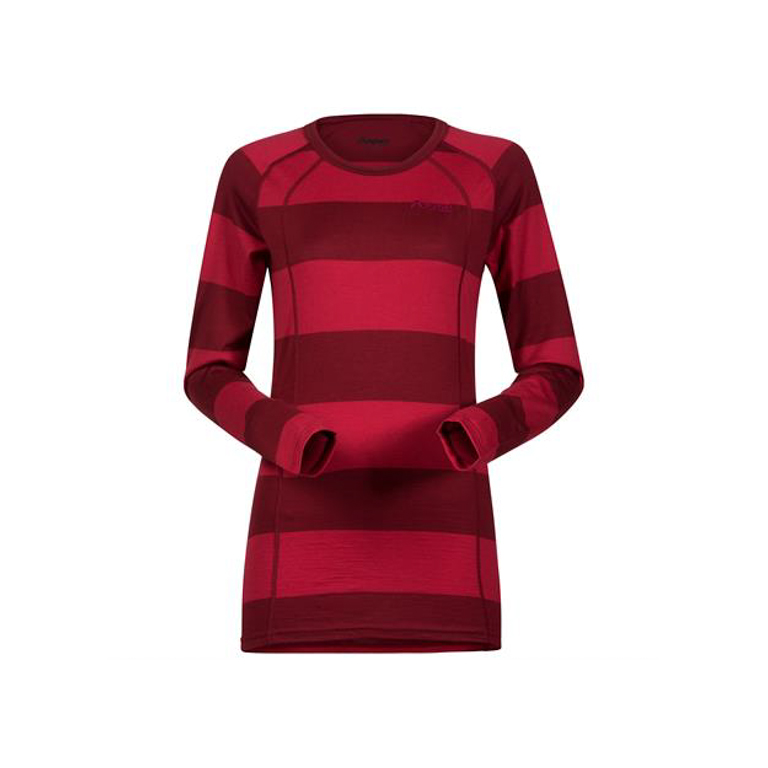 Bergans Underställströja Fjellrapp Lady Shirt Striped Red/Burgundy