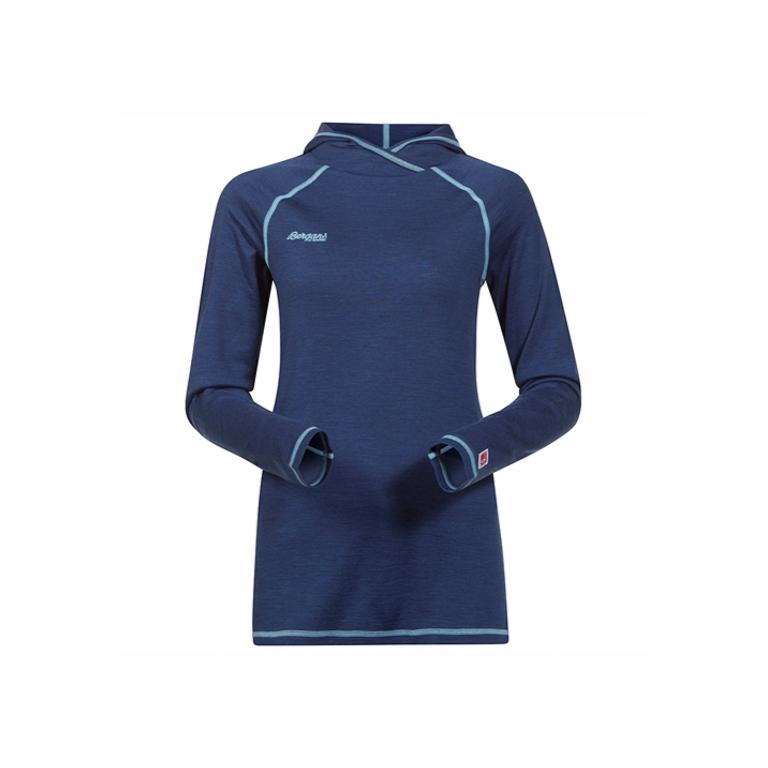 Bergans Tröja Cecilie Wool Shirt w/Hood Ink Blue Melange/Ice