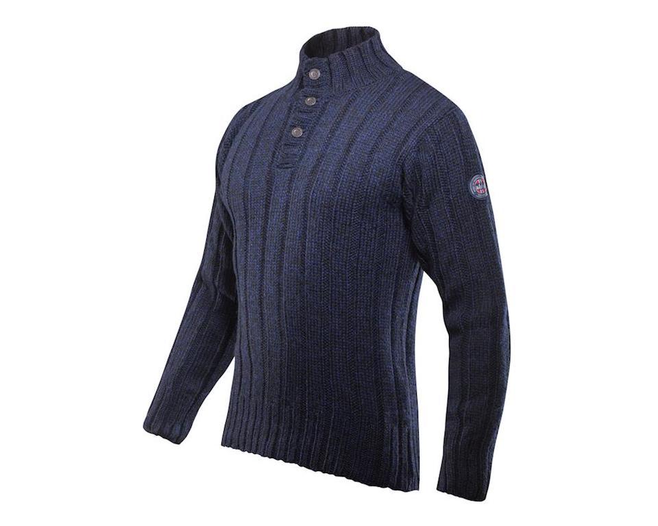 Devold Amundsen Button Neck Dark Blue Melange Tröja