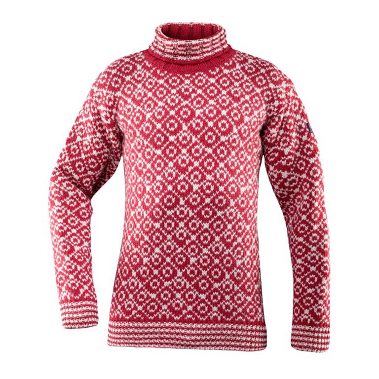 Devold Ylletröja Svalbard Sweater High Neck -Hindberry/Offwhite