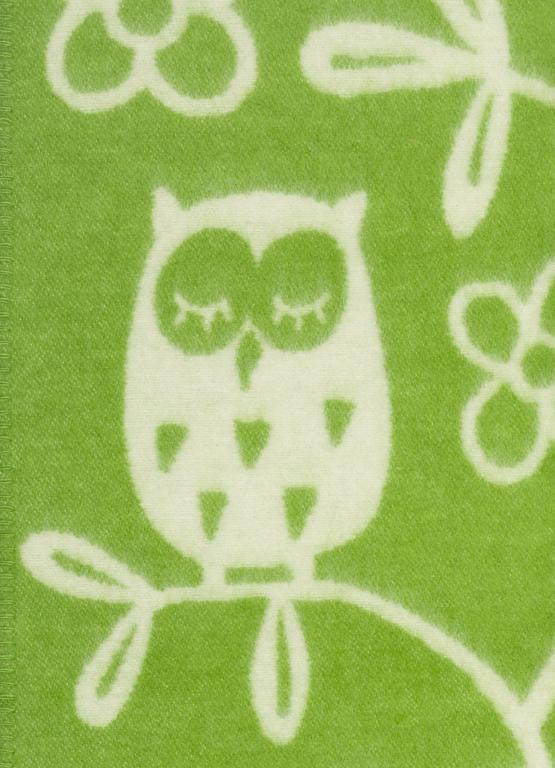 Klippan Yllefabrik Tree Owl Green Barnfilt