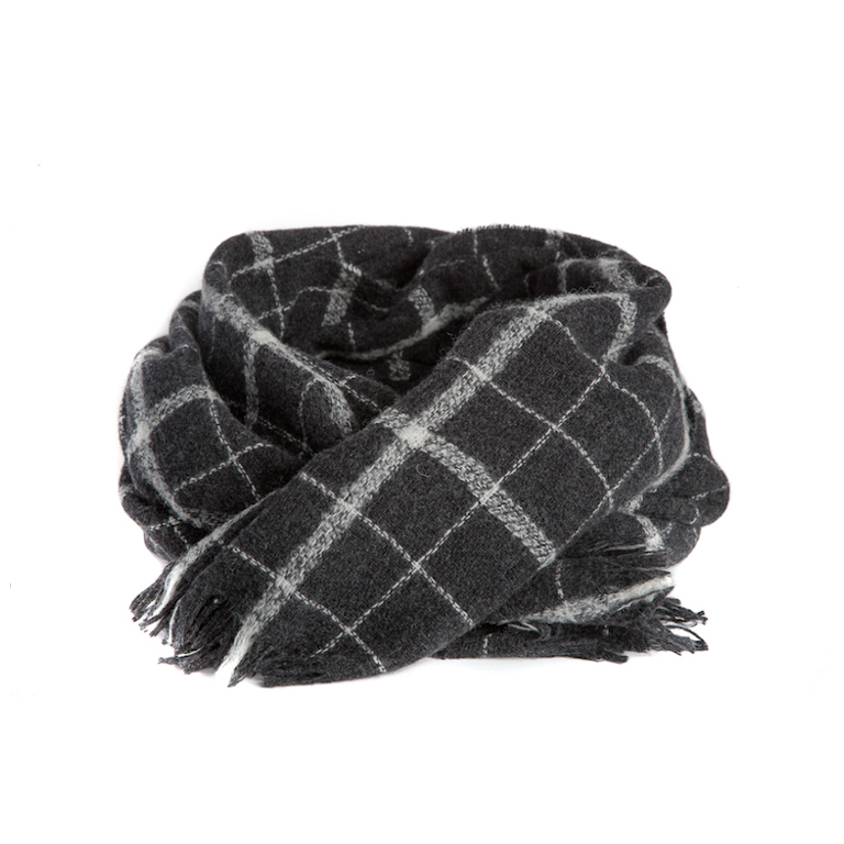Mathlau Wool Scarf Check Dark Grey