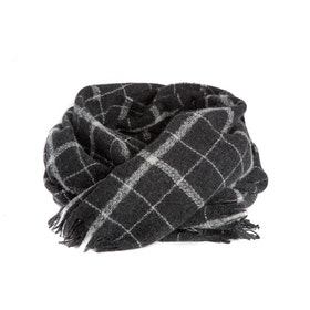 Mathlau Wool Scarf Check Dark Grey