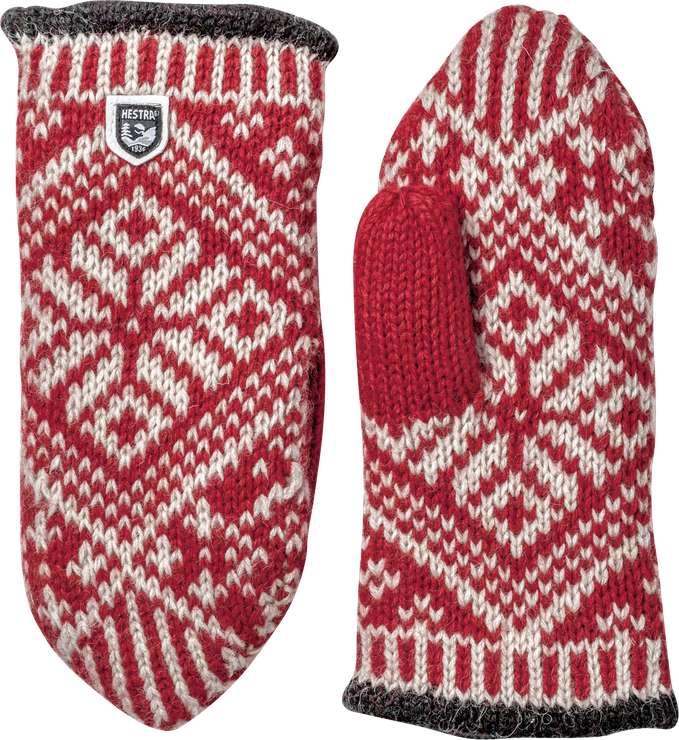 Hestra Nordic Wool Mitt Röd/Off white Tumvante