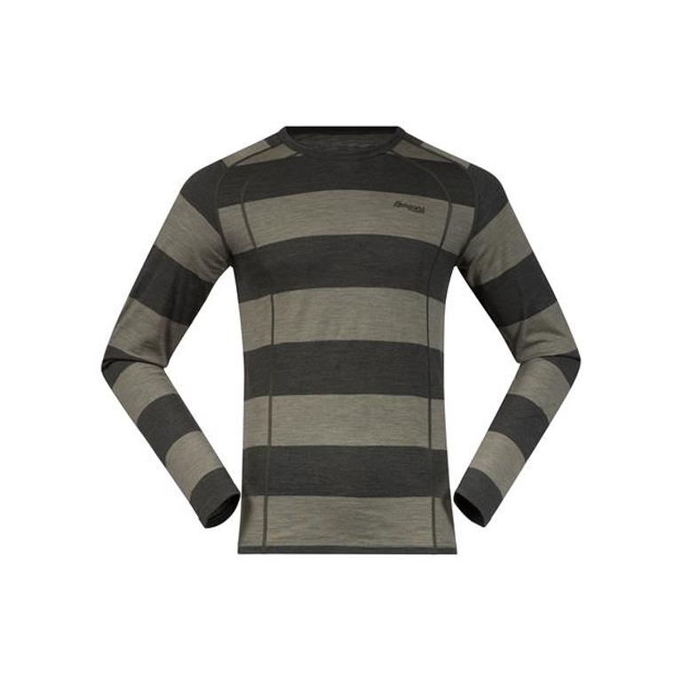 Bergans Underställströja Fjellrapp Shirt Striped Seaweed/Khaki Green Melange