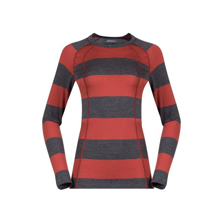 Bergans Underställströja Fjellrapp Lady Shirt Striped Lounge/Dark Grey Melange