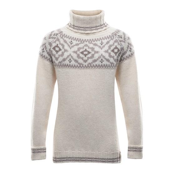 Devold of Norway Tröja Ona Junior Round Sweater -Offwhite