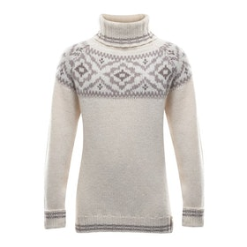 Devold of Norway Tröja Ona Junior Round Sweater -Offwhite