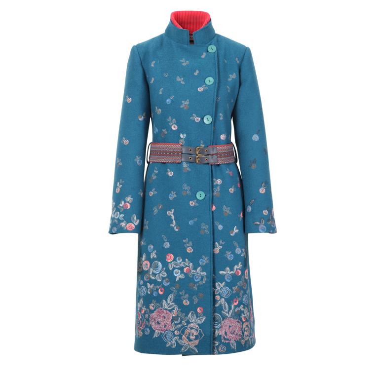 IVKO Woman Kappa Boiled Wool Coat with Embroidery Petrol