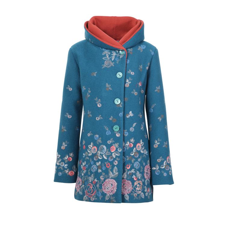 IVKO Woman Kappa Boiled Wool Jacket with Embroidery Petrol