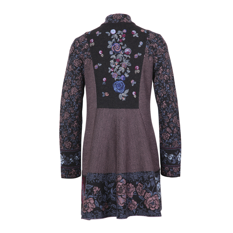 IVKO Woman Tröja Long Jacket with Embroidery Antracit